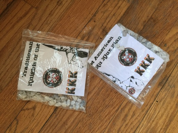 Jack May of South Freeport found these KKK flyers, folded and sealed in plastic baggies, in the driveways of his neighbors early Monday morning.