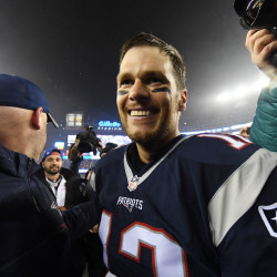 New England Patriots quarterback Tom Brady (12) after defeating the Pittsburgh Steelers 36-17 in the 2017 AFC Championship Game at Gillette Stadium.