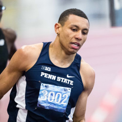 Isaiah Harris of Penn State University competes during the 600-meter run on Saturday at the Penn State National Open in University Park, Pennsylvania. The sophomore from Lewiston was clocked in 1 minute, 14.91 seconds, finishing second to Casimir Loxsom, who set the world record in 1:14.91.