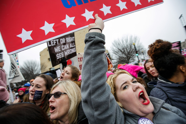 Thousands pack the streets for the Women's March on Washington rally outside the National Museum of the American Indian in Washington, D.C., on Saturday, Jan. 21.