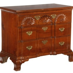 18th Century Newport, RI Townsend & Goddard block and shell mahogany chest, one of many fine antiques to be sold at Thomaston Place Auction Galleries on February 11 & 12