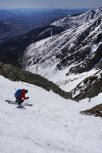 Dick Chasse, a senior guide for Acadia Mountain Guides Climbing School, skis down Yale Gully in Huntington Ravine on Mount Washington in April 2015.