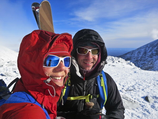 Husband and wife, Dick Chasse and Sarah O'Malley, of Sedgwick, pose for a photo atop Katahdin, Maine's tallest mountain, while backcountry skiing in early January in Baxter State Park.