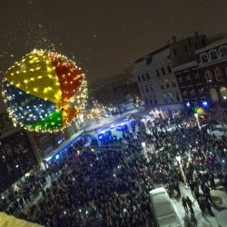 Bangor's New Year's Eve beach ball plummets towards an awaiting, screaming crowd of hundreds in West Market Square on Sunday morning to bring in the new year.