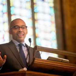 "Khalil Gibran Muhammed gives his keynote address ""No Reparation without Racial Education: Martin Luther King on the Tyranny of Ignorance"" for Bates College's ""Reparations: Addressing Racial Injustices"" program at the Peter J. Gomes Chapel on campus in Lewiston on Martin Luther King Jr. day Monday morning."