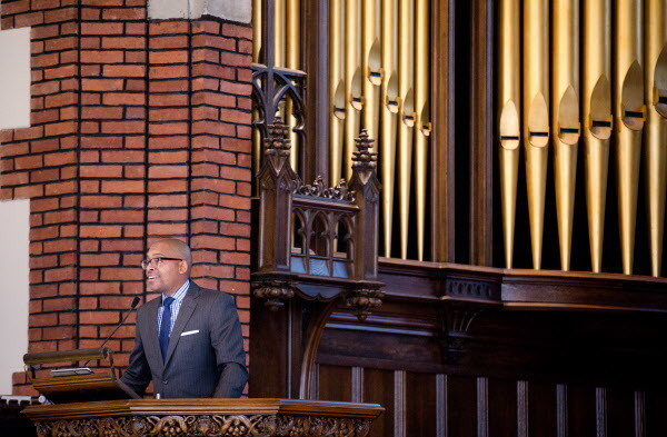 Khalil Gibran Muhammed gives his keynote address &quotNo Reparation without Racial Education: Martin Luther King on the Tyranny of Ignorance&quot for Bates College's &quotReparations: Addressing Racial Injustices&quot program at the Peter J. Gomes Chapel on campus in Lewiston on Martin Luther King Jr. day Monday morning.