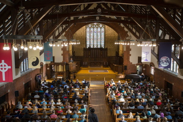 Khalil Gibran Muhammed gives his keynote address &quotNo Reparation without Racial Education: Martin Luther King on the Tyranny of Ignorance&quot to a crowded Peter J. Gomes Chapel at Bates College on Monday morning for their Martin Luther King Jr. day programming &quotReparations: Addressing Racial Injustices.&quot