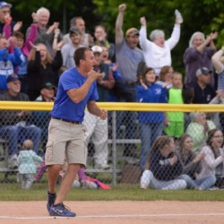 Stearns head coach Nick Cullen celebrates during the Class D North state softball championship game at Coffin Field in Brewer in this June 2016 file photo.