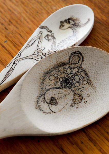 Wood-burn art by Bangor artist Hannah Kreitzer of Hallowbone.