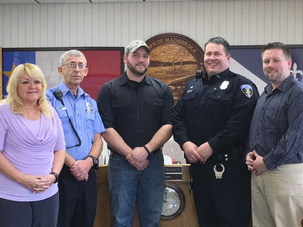 The Town of Madawaska achieved success with the 2016 Hire A Vet Program.  Pictured at left is Angela Higgins, HR Generalist along with three veterans hired by the Town. Micheal Dumond, Eric Hillegass and Eric Morin. Town Manager Ryan D. Pelletier is shown at far right.