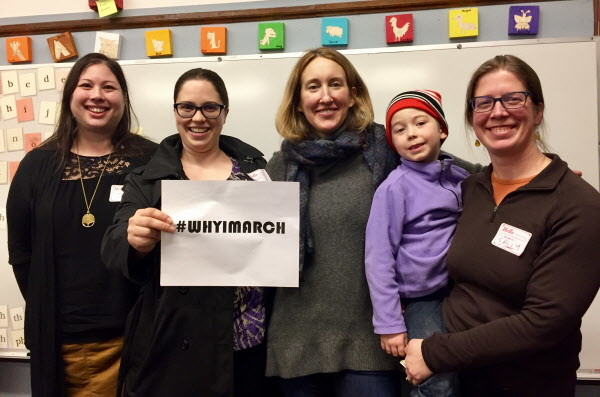 Organizers for Maine March, the local effort to get people to the Women's March on Washington, are from left Sarah Gaba, Cara Paulak, Genevieve Morgan and Sally Struever with son Jasper Eiermann.