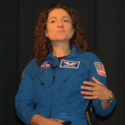 Dr. Jessica Meir, an astronaut who graduated from Caribou High School in 1995, stops by the school's performing arts center on Jan. 26, 2016, to speak to students about her time as a student and her current career with NASA.