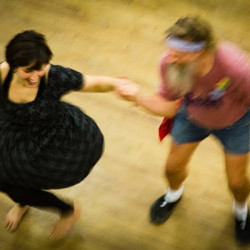 Tim Cason whirls Grace Glynn at the weekly Portland Intown Contra Dance on Thursday night at the State Street Church. After a 20 year break, contra dancing has come back to the city.