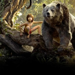 "Mowgli (Neel Sethi) and Baloo (voice of Bill Murray) of the new, live-action & CGI version of ""The Jungle Book."""