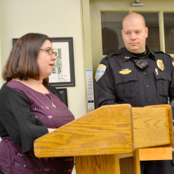 Ward Brook Road resident Holly Giles speaks in favor of a disorderly housing ordinance as Wiscasset Police Chief Jeff Lange looks on during a meeting of the Wiscasset Board of Selectmen on Tuesday, Jan. 3.