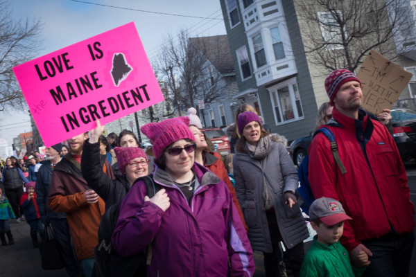 Women's March on Maine protesters stride down Congress Street from the Eastern Prom on Saturday. It took about two hours for the thousands of marchers to make their way to Congress Square, just over a mile away.