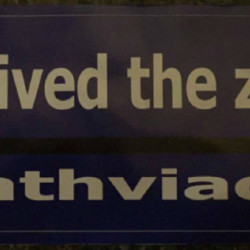 """Tiring of the road rage prompted by a """"zipper"""" merge pattern encouraged by the MDOT during the replacement of the Bath Viaduct, Jennifer Murray created a bumper sticker."""