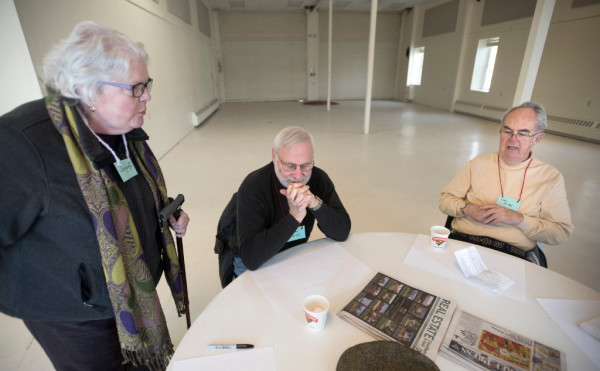 Jacquelyn Maines (left), Julian Cannell (center) and Loren Van Ness chat before the meeting of the Belfast Senior Center at the Belfast Boathouse on Tuesday. The participants of the group would like to have a permanent home for the Senior Center and have been discussing what people would like for activities. The city is allowing the use of The Boathouse through March of this year.