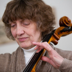 Noreen Silver, the principal cellist for the Bangor Symphony Orchestra, plays a snippet of the F.J. Haydn's Cello Concerto No. 1 in C major at her home in Bangor.