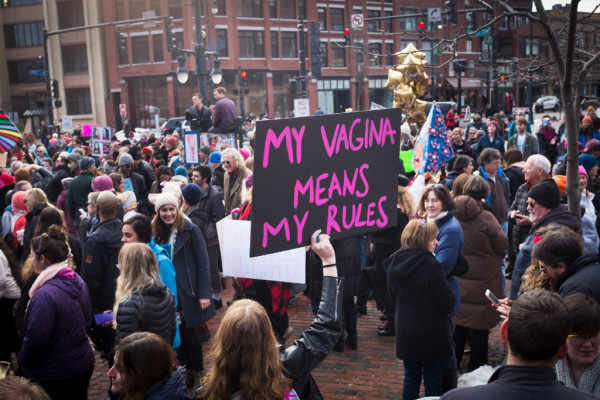 Thousands of people gather in Portland's' Congress Square on Saturday at the end of the local Women's March on Maine that stretched all the way up Congress Street to the Eastern Prom.