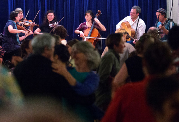 Molly Gawler (from left), Ellen Gawler, Edith Gawler, Elsie Gawler, Bennett Konesni and John Gawler play during the Belfast contra dance at American Legion Post No. 43 on Friday. The Gawler family are a &quotfun-loving, folk-singing, fiddle-playing family&quot that are truly an only-in-Maine music group. They are committed to farming and old-time activities such as contra dancing and music.