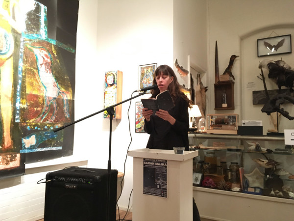 Sara Majka gives a reading at The Rock & Art Shop, part of the series of events hosted by the Norumbega Collective in Bangor.