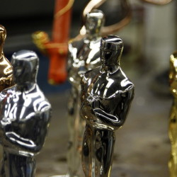 Oscar statuettes in the five steps of manufacturing are seen during a media tour of the R.S. Owen and Company in Chicago, Feb. 9, 2012.