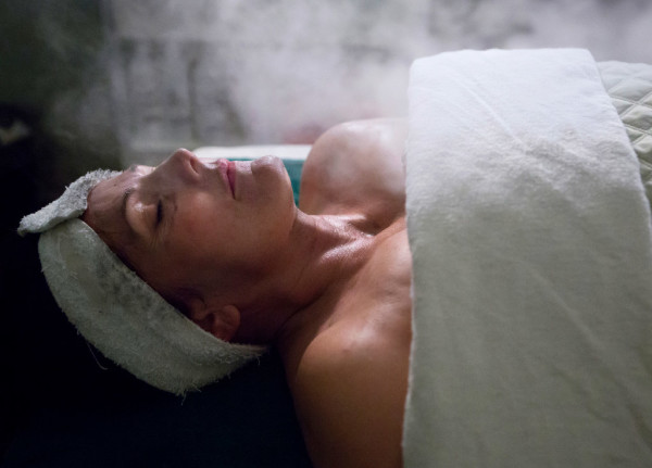 Steam surrounds Michelle Sherbak to help open her pores during an &quotAnthony's Classic&quot facial at Anthony John's Day Spa in Bangor on Tuesday.