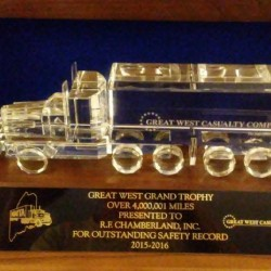 St. Agatha-based R.F. Chamberland, Inc. earned the Maine Motor Vehicle Transportation's Grand Champion safety award for 2015-2016.