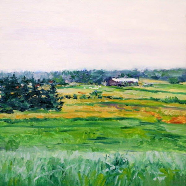 Artist J. Thomas R. Higgins created this painting, titled &quotFarm Space in Mist,&quot during his residency at the Maine Farmland Trust's Jospeh A. Fiore Art Center.