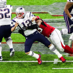 New England Patriots quarterback Tom Brady (12) is sacked by the Atlanta Falcons during Super Bowl LI on Sunday, Feb. 5, 2017 at NRG Stadium in Houston, Texas.