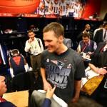 New England Patriots quarterback Tom Brady celebrates with owner Robert Kraft after defeating the Atlanta Falcons during Super Bowl LI at NRG Stadium.