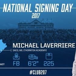 Michael Laverriere of Thornton Academy in Saco is among the players who have committed to the University of Maine football program on Wednesday, the first day of the National Letter of Intent signing period.