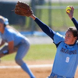 Erin Bogdanovich of the University of Maine delivers a pitch during a 2016 game in Orono. The left-hander is among 19 returning players who have made coach Mike Coutts' Black Bears the favorite to defend their America East softball title this season.