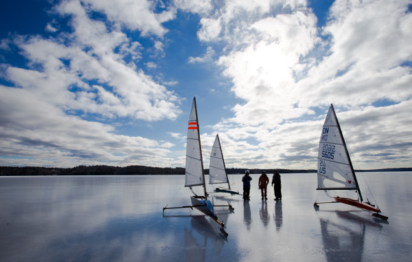 Ice boaters stop to chat on Monday on Damariscotta Lake in Jefferson.