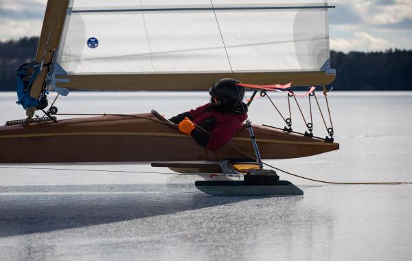 John Eastman of Rockport flies along the ice on Monday on Damariscotta Lake in Jefferson.