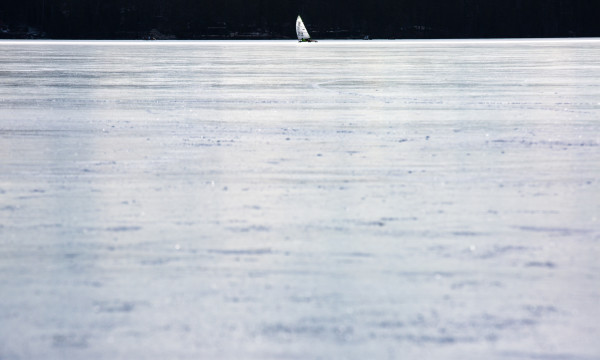 An ice boater races along on Monday on Damariscotta Lake in Jefferson.
