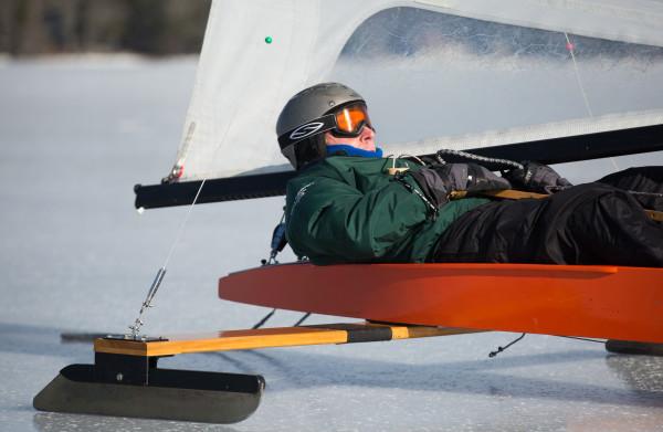 Henry Capotosto of Rhode Island goes ice boating on Monday on Damariscotta Lake in Jefferson.