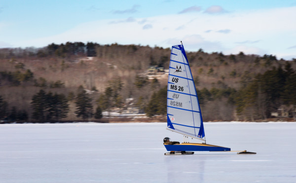 An ice boater zips along on Monday on Damariscotta Lake in Jefferson.