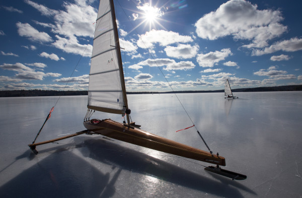 An ice boat awaits the return of its owner during a lull in the wind on Monday on Damariscotta Lake in Jefferson.