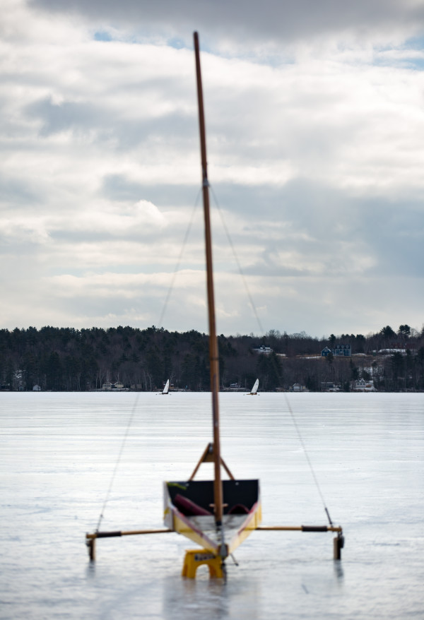 Ice boats can be seen on Monday on Damariscotta Lake in Jefferson.