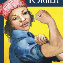 "Freeport artist Abigail Gray Swartz drew on her experience at the Jan. 21 Women's March in Augusta to create her first cover for The New Yorker. The cover, ""The March,"" depicts a black Rosie the Riveter wearing a pink, knitted hat."
