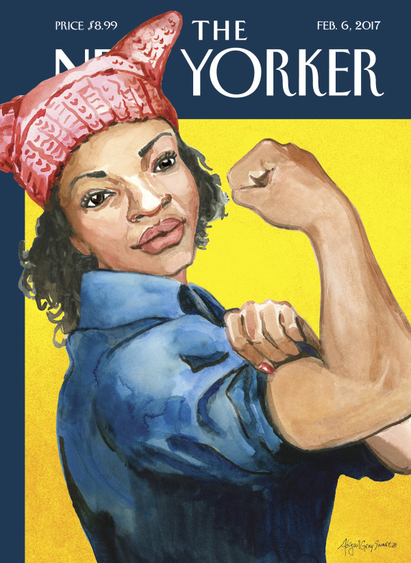 Freeport artist Abigail Gray Swartz drew on her experience at the Jan. 21 Women's March in Augusta to create her first cover for The New Yorker. The cover, &quotThe March,&quot depicts a black Rosie the Riveter wearing a pink, knitted hat.
