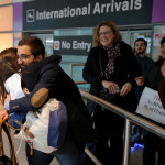 Behnam Partopour, a Worcester Polytechnic Institute student from Iran, is greeted by his sister Bahar (left) at Logan Airport after he cleared U.S. customs and immigration on an F1 student visa in Boston, Massachusetts, Feb. 3, 2017. Partopour was originally turned away from a flight to the U.S. following President Donald Trump's executive order travel ban.