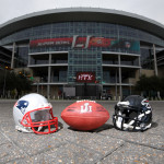General overall view of New England Patriots and Atlanta Falcons helmets and NFL Wilson official Duke Super Bowl LI logo football at NRG Stadium.