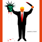 President Donald Trump is depicted beheading the Statue of Liberty in this illustration on the cover of the latest issue of German news magazine Der Spiegel.