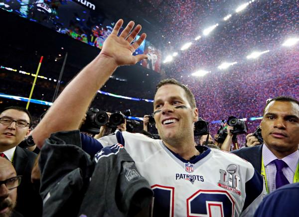 New England Patriots quarterback Tom Brady (celebrates after beating the Atlanta Falcons 34-28 in overtime during Super Bowl LI at NRG Stadium in Houston on Sunday night.