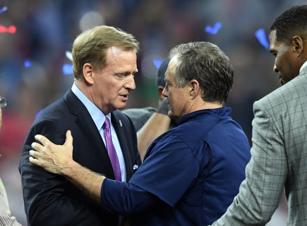 NFL commissioner Roger Goodell and New England Patriots head coach Bill Belichick greet each other after the game against the Atlanta Falcons during Super Bowl LI at NRG Stadium in Houston on Sunday night. The Patriots won 34-28.