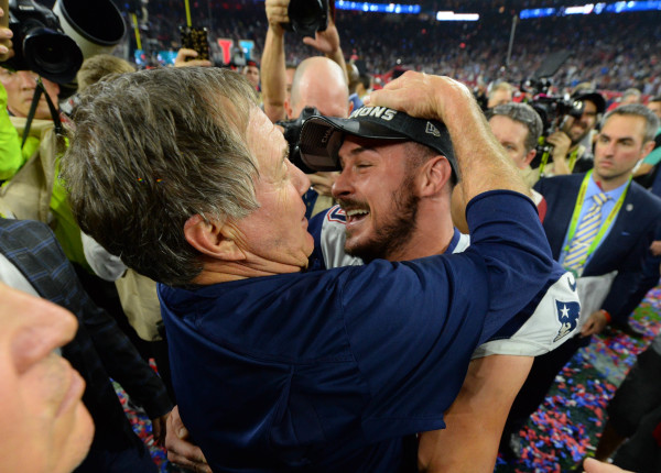New England Patriots head coach Bill Belichick celebrates with receiver Danny Amendola after defeating the Atlanta Falcons 34-28 in overtime during Super Bowl LI at NRG Stadium in Houston on Sunday night.