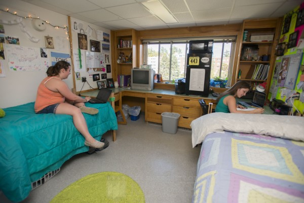 Students study in a dorm room at the University of Maine, Orono in April of 2013.
